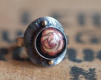small camelia enamel ring