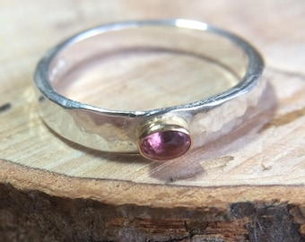pink tourmaline ring, silver and gold