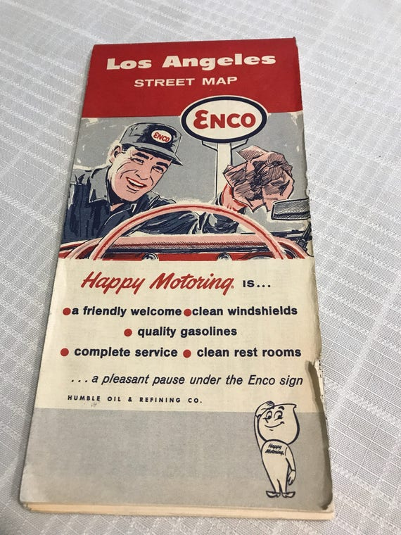 Vintage Los Angeles Street Map 1960s Enco Gas Station Collect Etsy