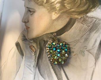 Rhinestone apple brooch aurora blues