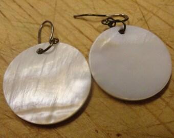 Mother of Pearl Abalone Disc Dangle Earrings Beach Wedding