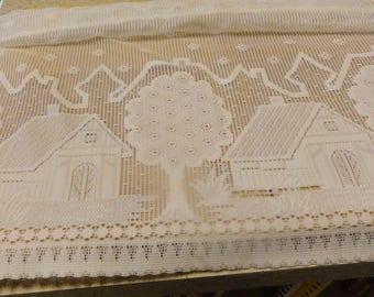 LACE Valance with Houses and Trees Cottage Decor Vintage German