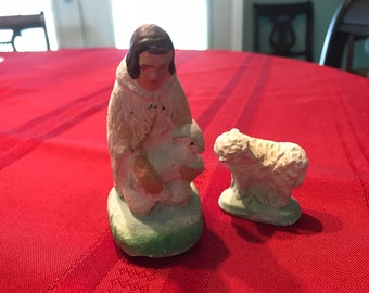 Vintage Chalkware Nativity Figure Shepherd and sheep 1940s