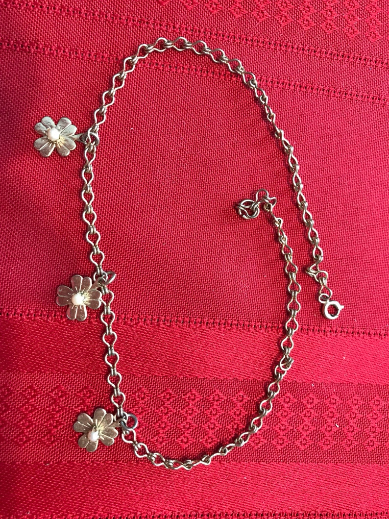 Vintage 4 leaf clover choker 1950s piece with seed pearls adorable Irish lucky wedding