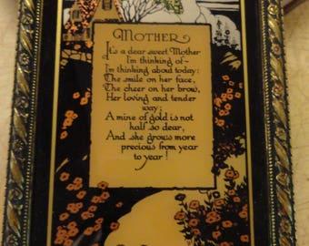Mother Poem Reverse Painted Glass CA Richards 1930 Art Deco