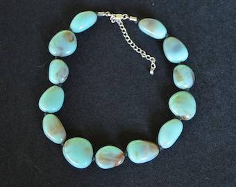 Vintage Turquoise Bead Necklace Adjustable Hand Made Original