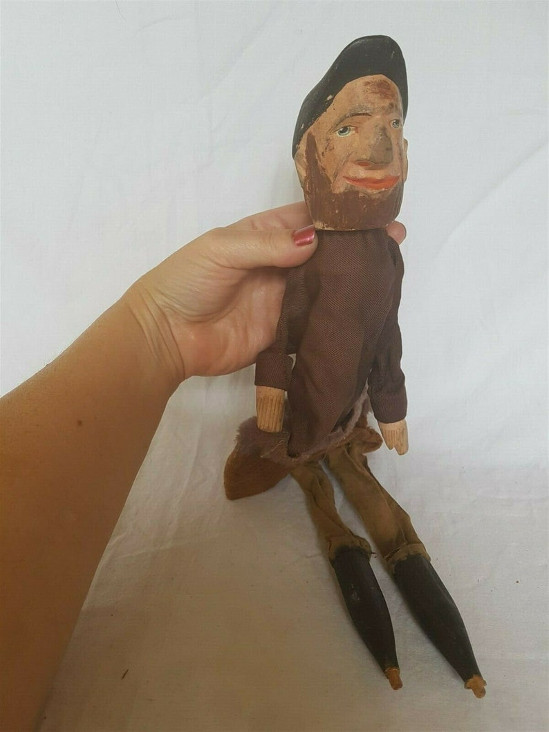Antique Hand Puppet Marionette Doll Carving Carved Wood and Cloth Wooden from Punch and Judy Puppet Show Hand Made Original Man Boy