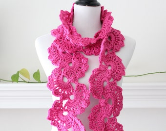 Crocheted Hot Rose Scarf Neclwarmer