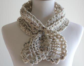 Crocheted Oatmeal Scarf, Scarflette