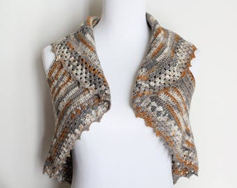 Crocheted Brown Silver thread Vest or Sweater