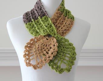 Crocheted Light Green, Brown  Scarf, Scarflette