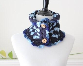 Crocheted Blue Motif Cowl / Neckwarmer