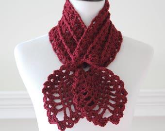 Crocheted Burgundy Scarf, Scarflette