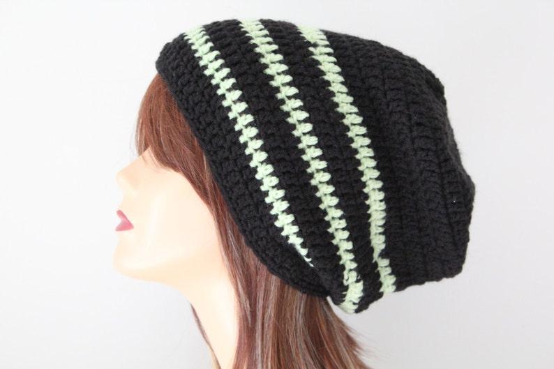Crocheted Light Green Black Slouchy Beanie Hat