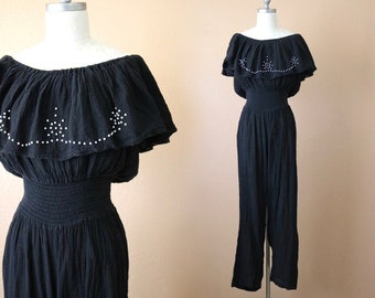 48fb2f0ab9 1970 s off shoulder gauze jumpsuit