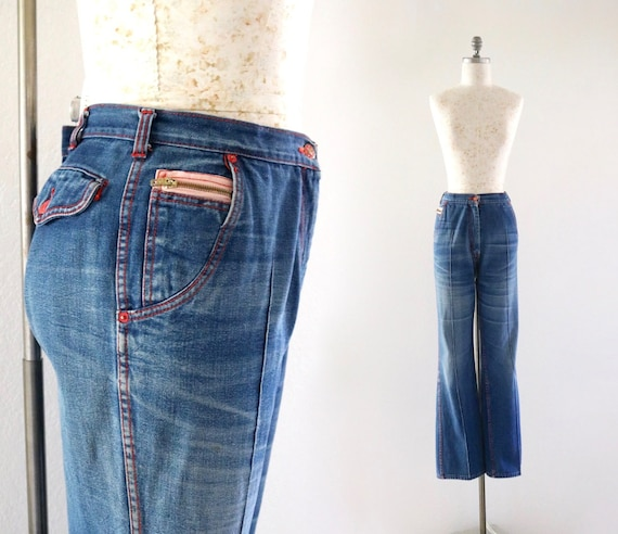 1970's destroyed bell jeans / 31