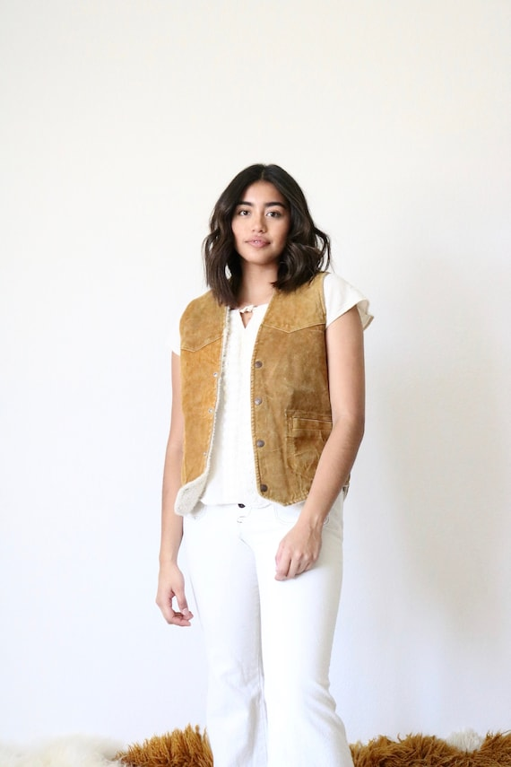 1970's suede sherpa vest