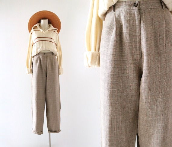micro plaid linen trousers - 4