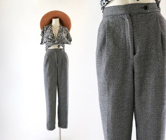 micro check wool trousers - 6
