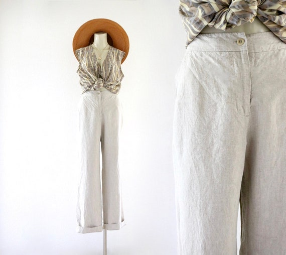 natural linen trousers - 3