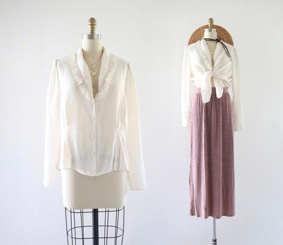 lace chiffon blouse - s