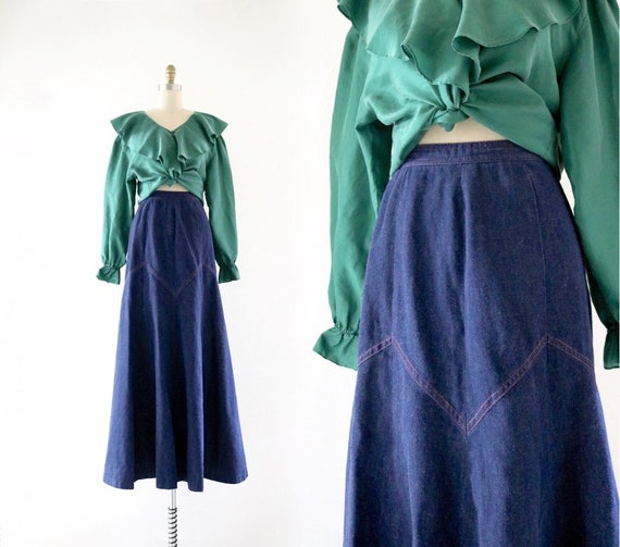 70's denim maxi skirt - 24