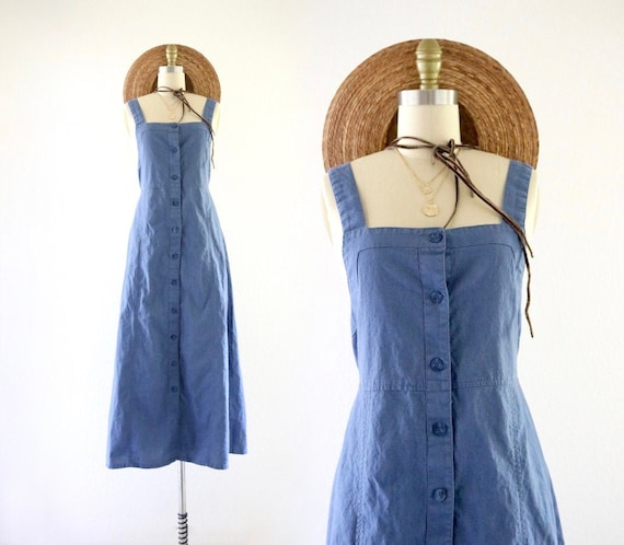 cornflower linen apron dress - s