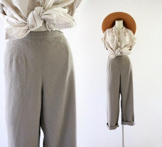 mocha linen trousers  29-32