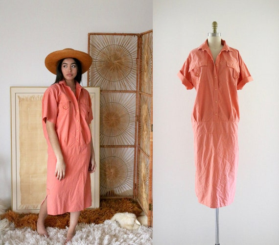 oversized coral shirt dress