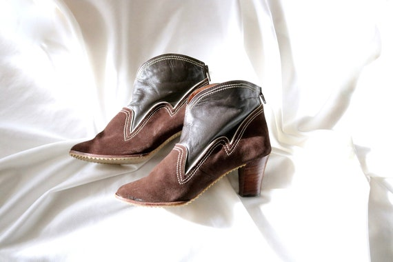 70's leather booties - 6