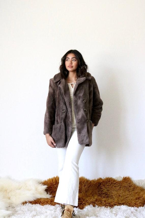 70's faux teddy bear coat