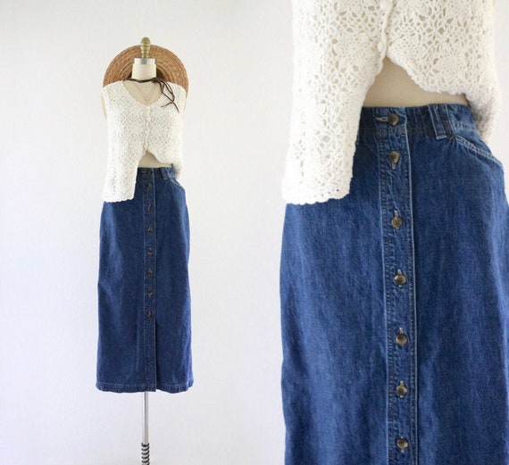 denim maxi skirt - 8