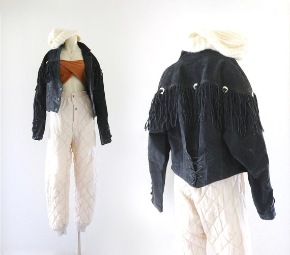 cropped suede leather fringe jacket - see details