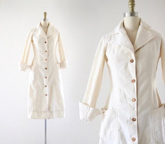70's natural cotton dress - s