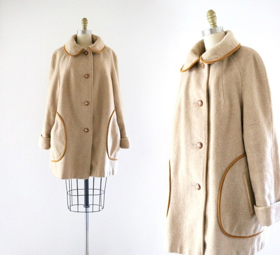 60's oversized golden wool coat