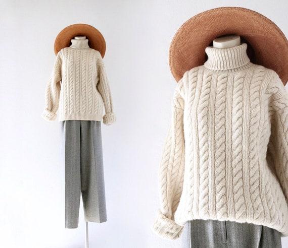 lambswool fisherman sweater - l