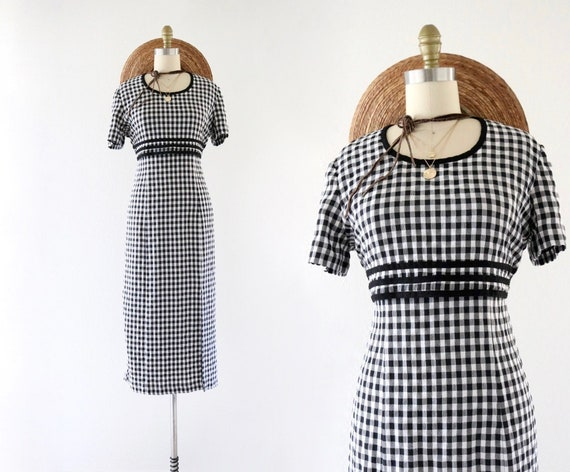 gingham tie back dress - 6
