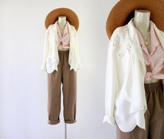 draped lace - open back jacket