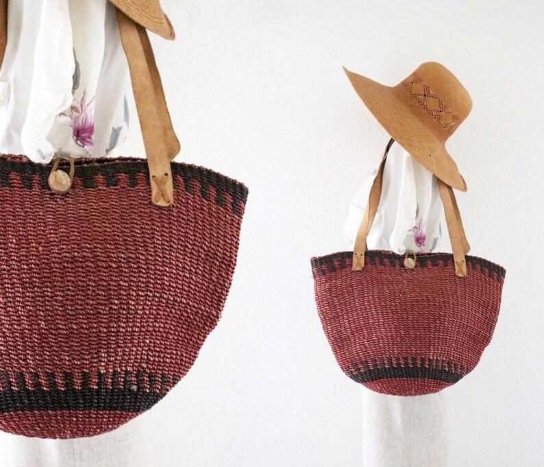 raspberry sisal market bag