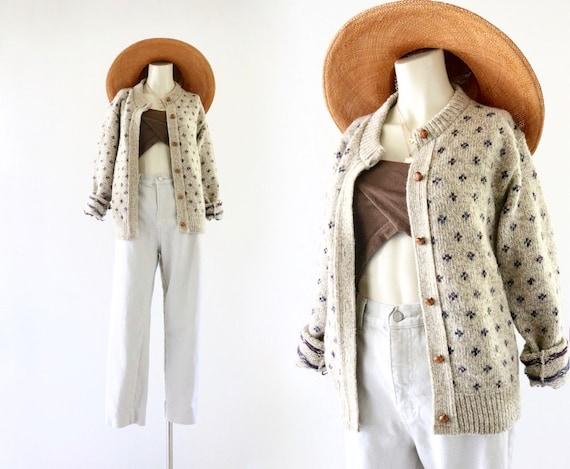marled beige wool cardigan - s