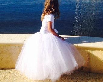 Girls long tutu tulle skirt. Flower Girl skirt. White or ivory long tutu. Available in several colors.