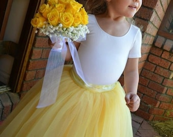 05091dd97c Sunshine yellow tutu for girls. Butter yellow, lemon yellow and ivory tulle  is sewn. Flower Girls and portrait tutu skirt.