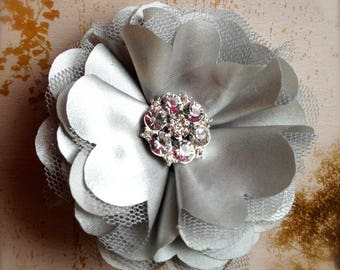 Satin flower clip or pin with rhinestones in ivory, eggplant dots, teal, silver, white, yellow, black.