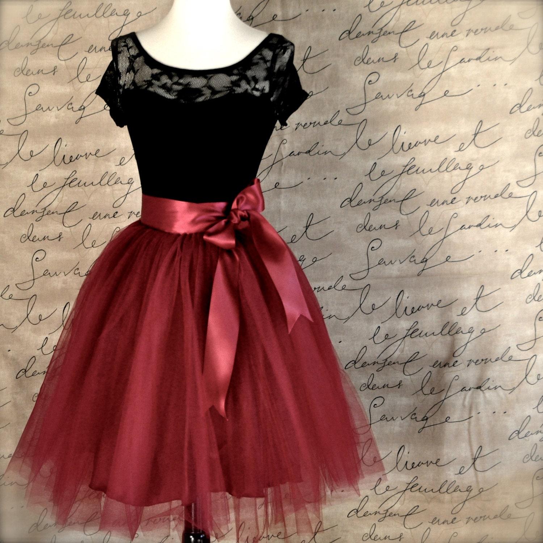 e68d1738f Burgundy tulle skirt for women. Wide burgundy satin ribbon   Etsy