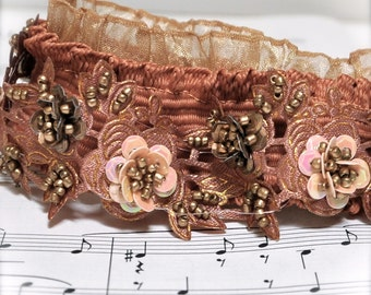 Beaded headband-- A blush pink, terra cotta and antique gold Victorian color scheme from yesterday.