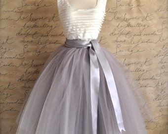 Grey tulle skirt for women with silver or ivory satin lining Tea length tulle skirt. Bridesmaid skirt Bride engagement Adult tutu Tutus Chic