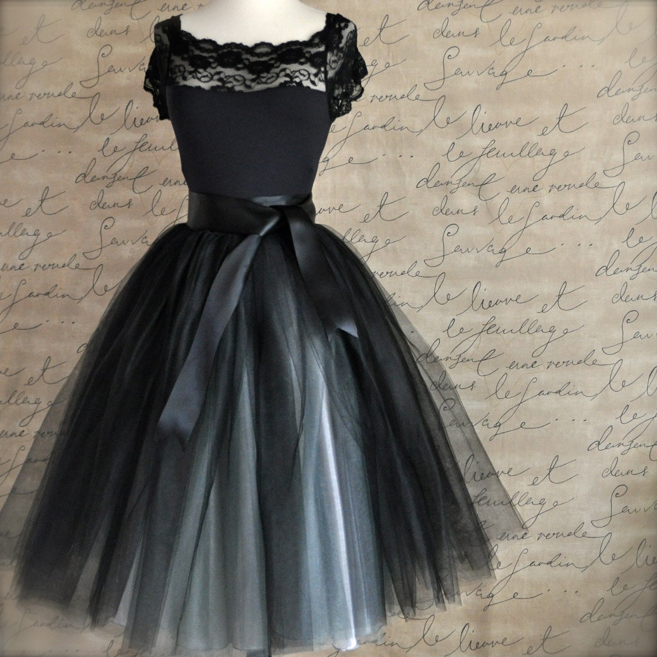 Tulle Tutu Skirt For Women In Black And Silver Ballerina