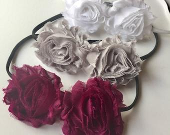 Stretch blossom headband set for women and girls. Three sale shabby chiffon blossoms on skinny bands. TutusChic Originals.  Sale 3 for 18.