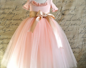 Blush Flower Girl Tutu with ribbon sashed waist. Weddings, birthday, special occasion tulle skirt. Girls tulle skirt TutusChic