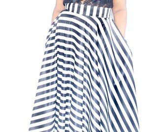 04663c5b671 Satin Plus Size Maxi Skirt Stripes plus size High Waist   plus size 2 - 24  ) 42